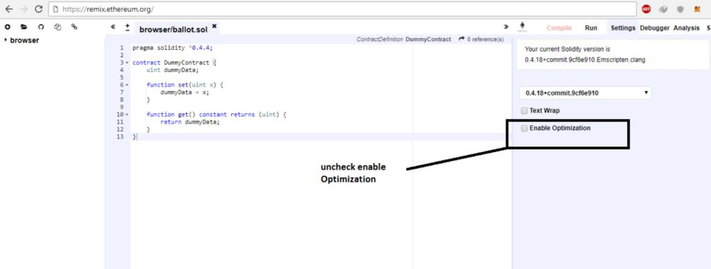 Uncheck enable optimization checkbox.