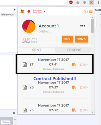 Now a Metamask Window will pop out, click on Create Button on it, Hold on now you Just created your First contract on Test Net, congratulations! After 12 Seconds click on Metamask on the top of chrome again, Now you will see the contract published in it.